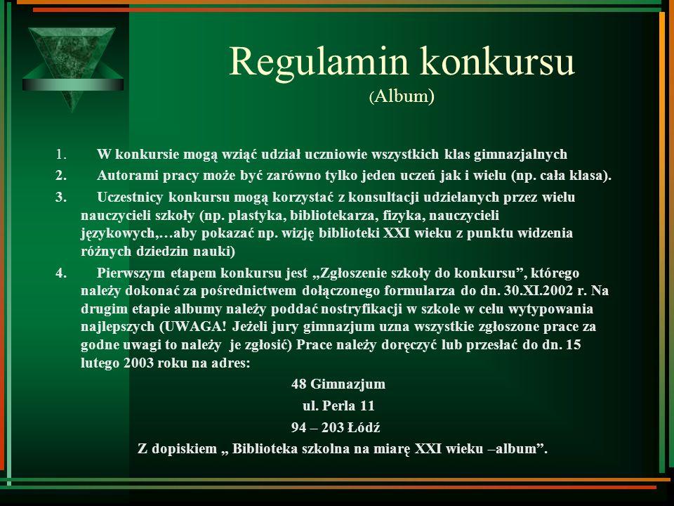Regulamin konkursu (Album)