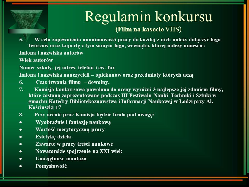 Regulamin konkursu (Film na kasecie VHS)