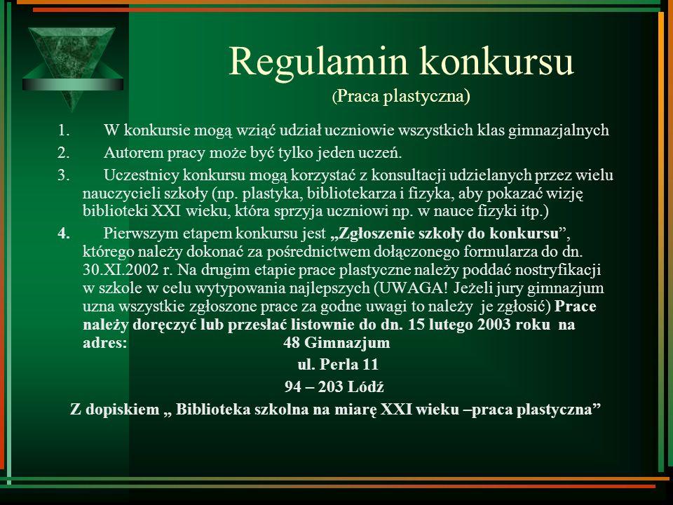 Regulamin konkursu (Praca plastyczna)