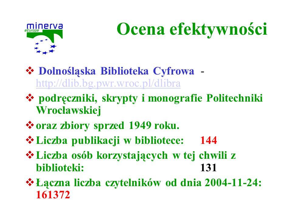 Ocena efektywności Dolnośląska Biblioteka Cyfrowa - http://dlib.bg.pwr.wroc.pl/dlibra.