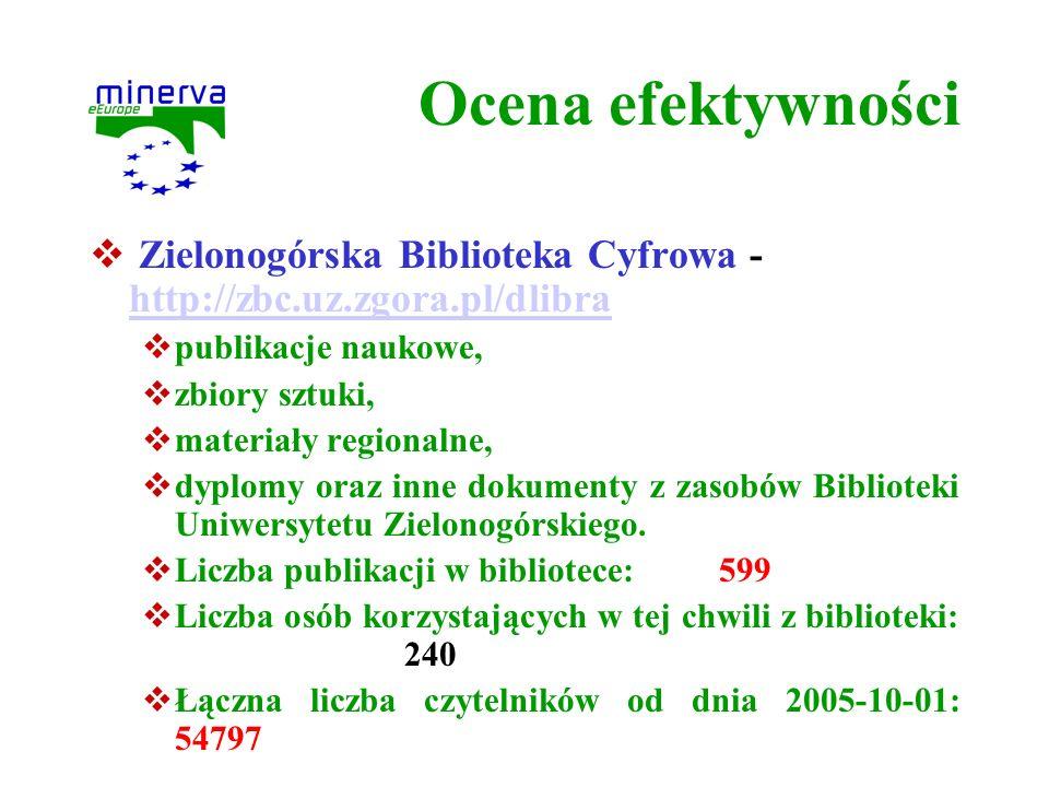 Ocena efektywności Zielonogórska Biblioteka Cyfrowa - http://zbc.uz.zgora.pl/dlibra. publikacje naukowe,