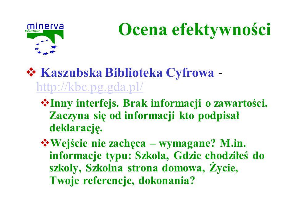 Ocena efektywności Kaszubska Biblioteka Cyfrowa - http://kbc.pg.gda.pl/