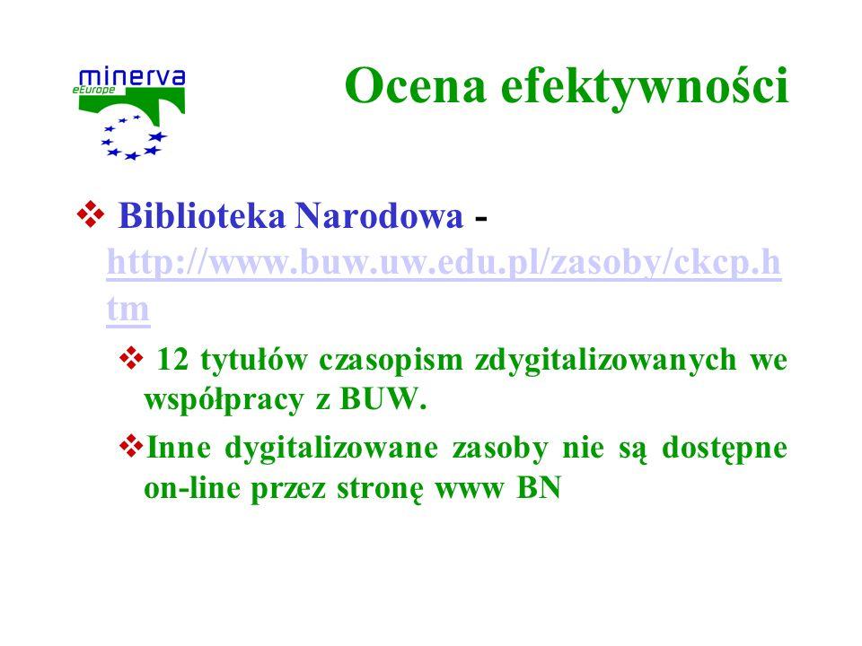 Ocena efektywności Biblioteka Narodowa - http://www.buw.uw.edu.pl/zasoby/ckcp.htm. 12 tytułów czasopism zdygitalizowanych we współpracy z BUW.