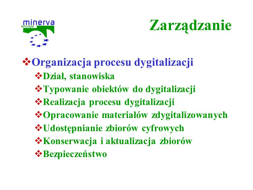 Zarządzanie Organizacja procesu dygitalizacji Dział, stanowiska