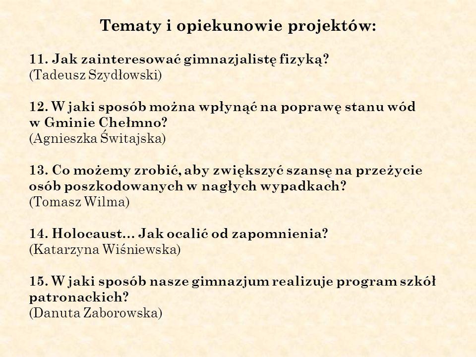 Tematy i opiekunowie projektów: