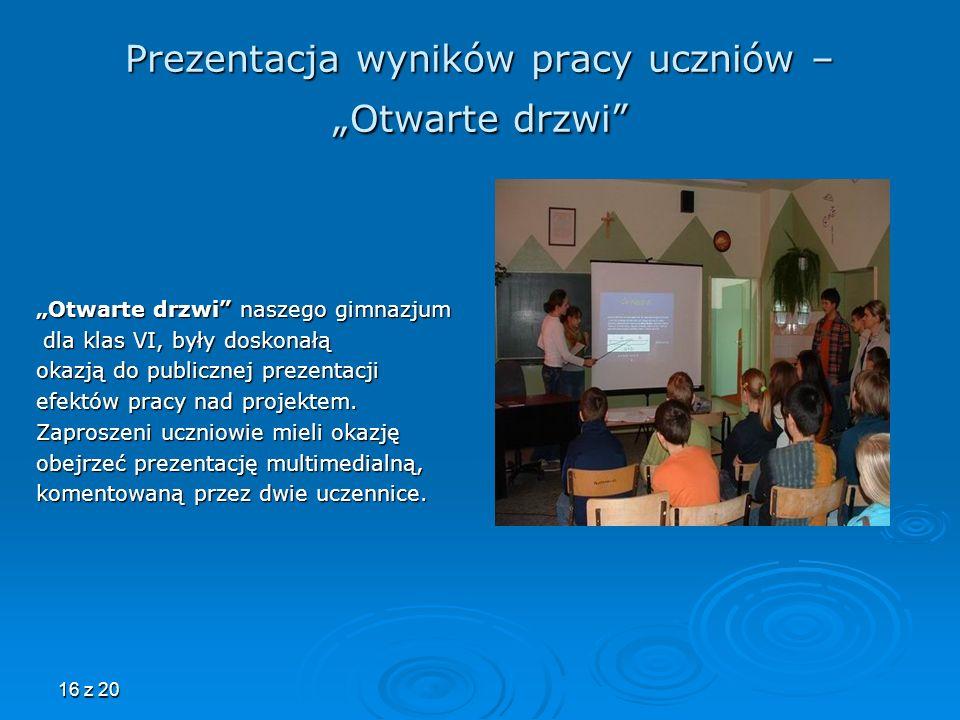"""Prezentacja wyników pracy uczniów – """"Otwarte drzwi"""
