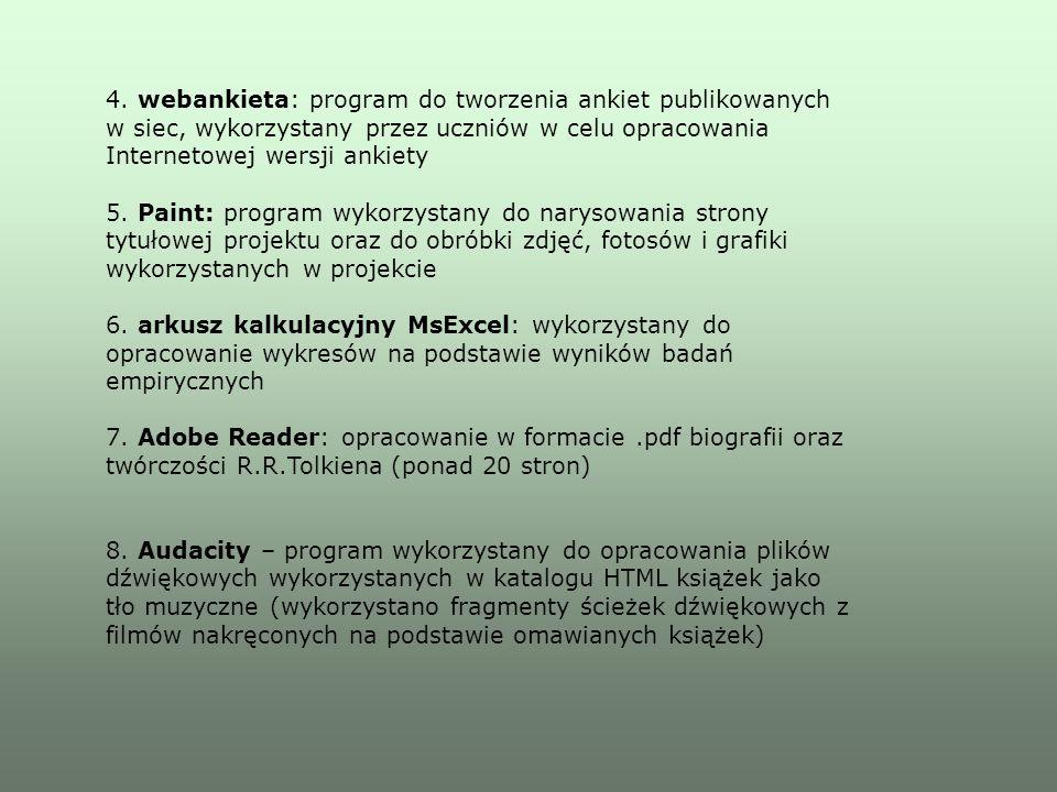 4. webankieta: program do tworzenia ankiet publikowanych w siec, wykorzystany przez uczniów w celu opracowania Internetowej wersji ankiety