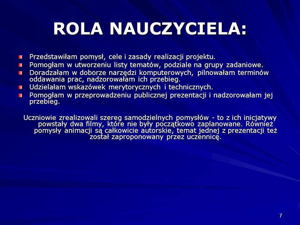 ROLA NAUCZYCIELA:Przedstawiłam pomysł, cele i zasady realizacji projektu. Pomogłam w utworzeniu listy tematów, podziale na grupy zadaniowe.