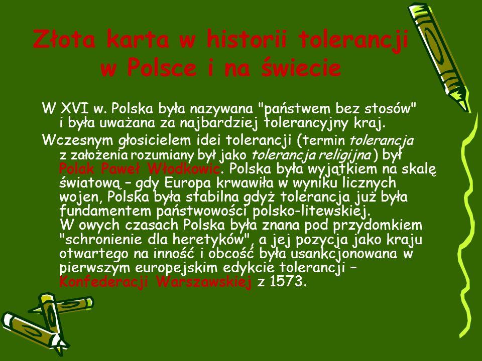Złota karta w historii tolerancji w Polsce i na świecie