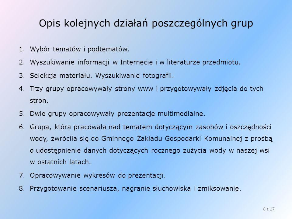 Opis kolejnych działań poszczególnych grup