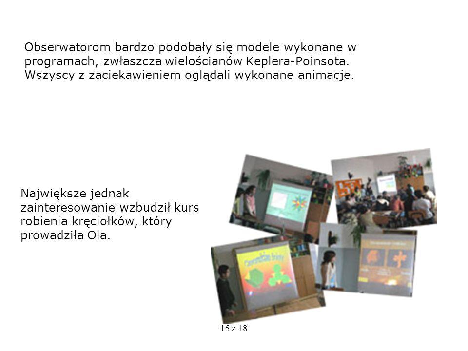 Obserwatorom bardzo podobały się modele wykonane w programach, zwłaszcza wielościanów Keplera-Poinsota. Wszyscy z zaciekawieniem oglądali wykonane animacje.