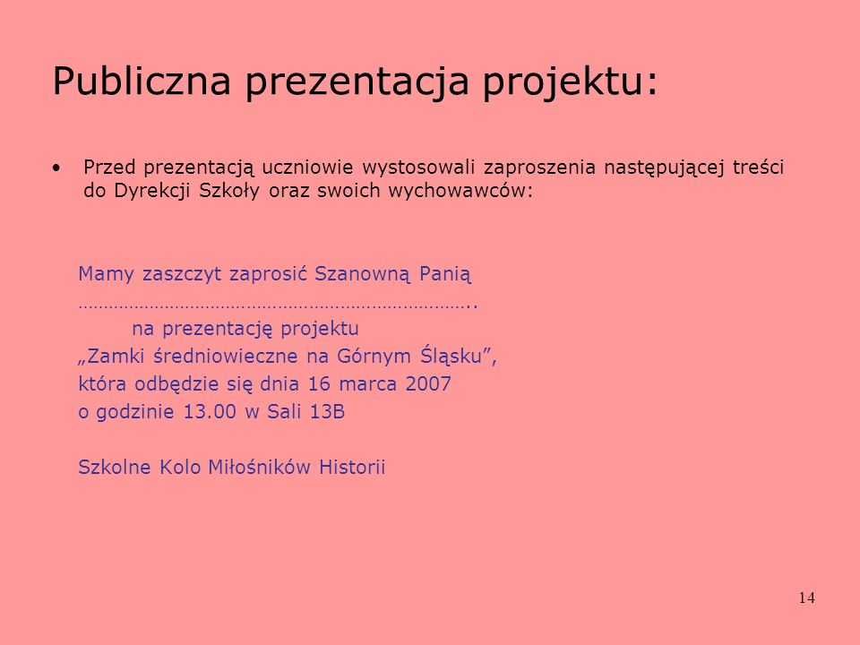Publiczna prezentacja projektu: