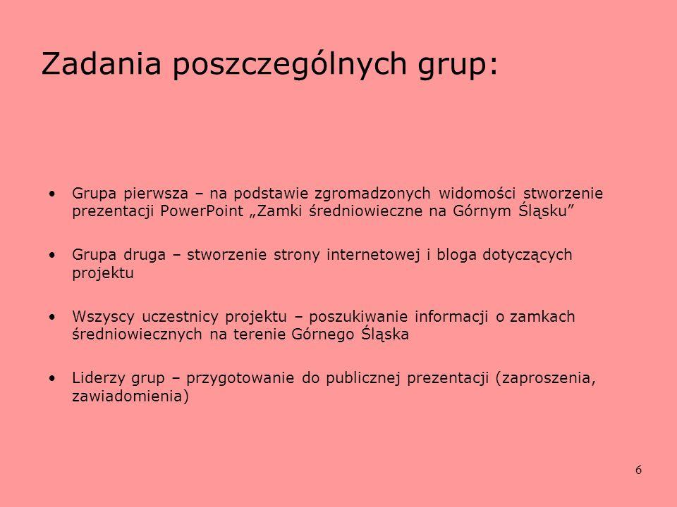 Zadania poszczególnych grup: