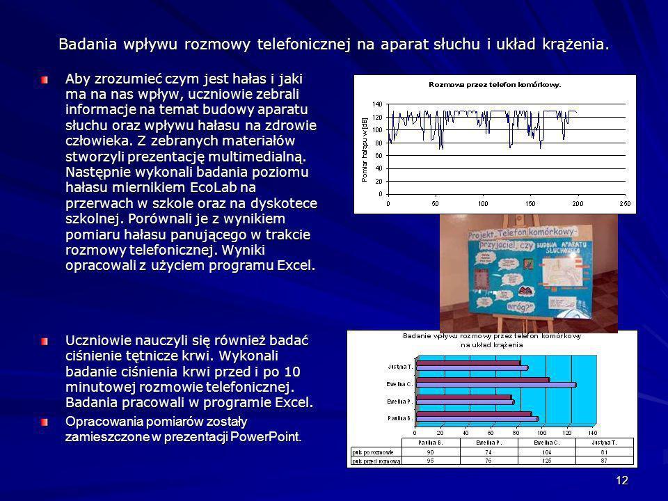 Badania wpływu rozmowy telefonicznej na aparat słuchu i układ krążenia.
