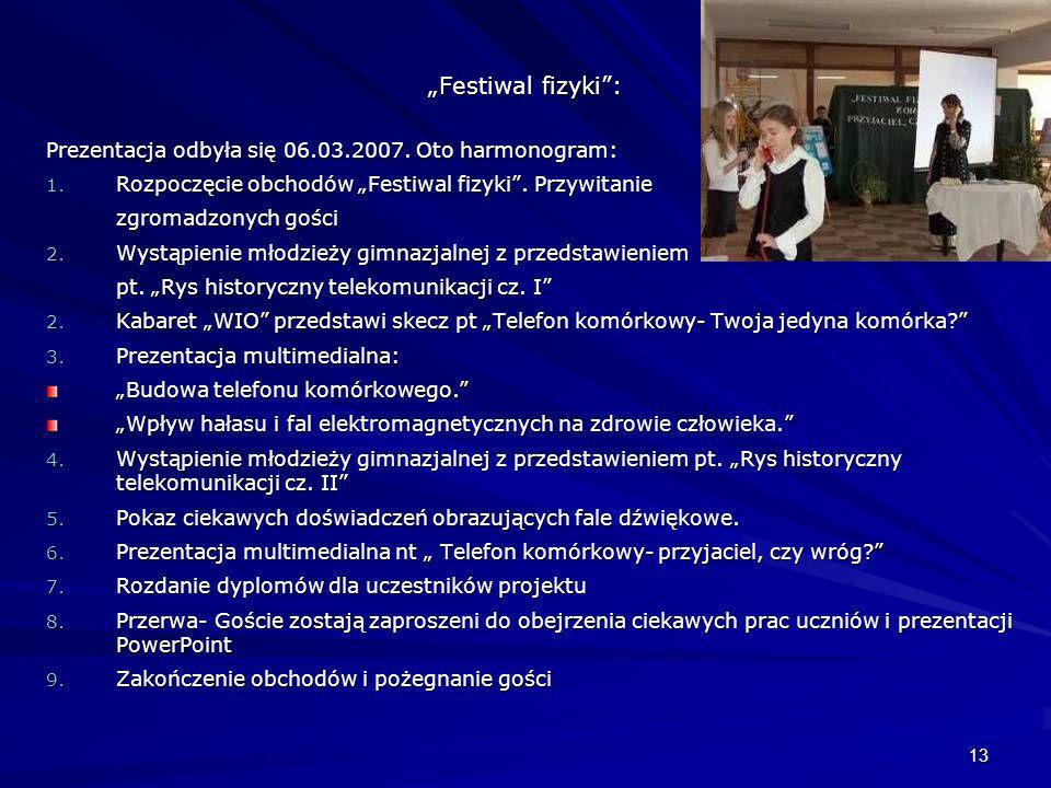 """""""Festiwal fizyki : Prezentacja odbyła się 06.03.2007. Oto harmonogram:"""