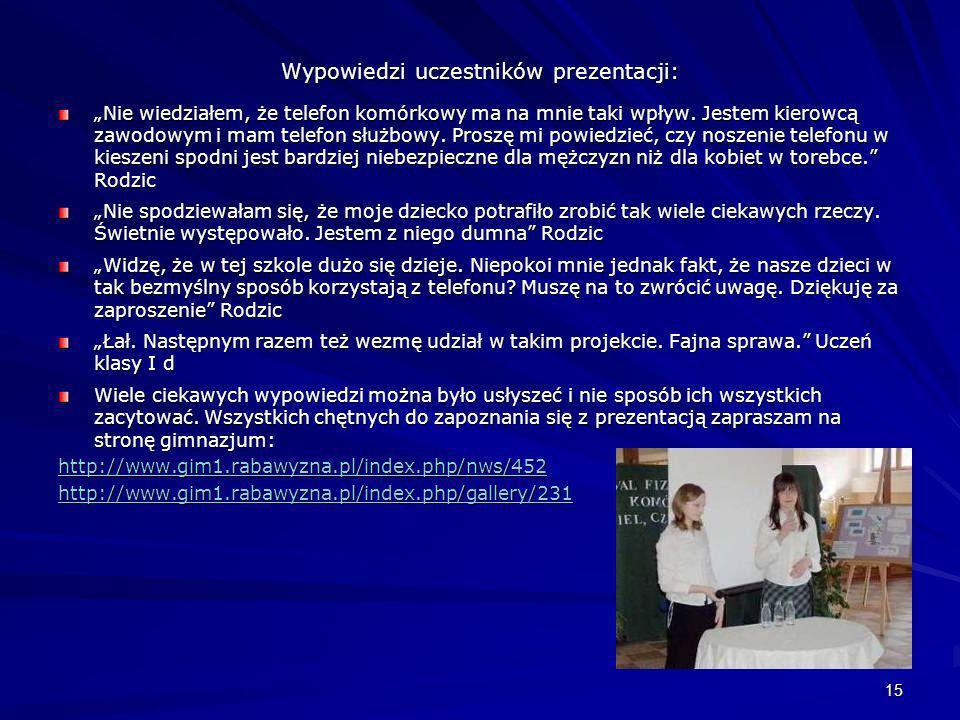 Wypowiedzi uczestników prezentacji: