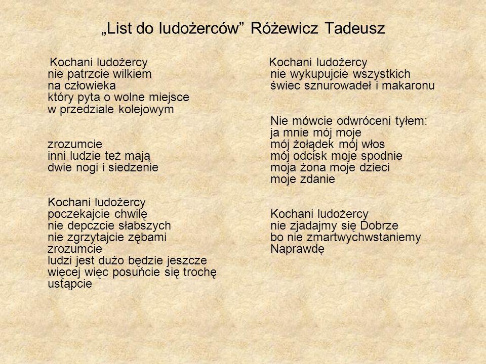 """""""List do ludożerców Różewicz Tadeusz"""