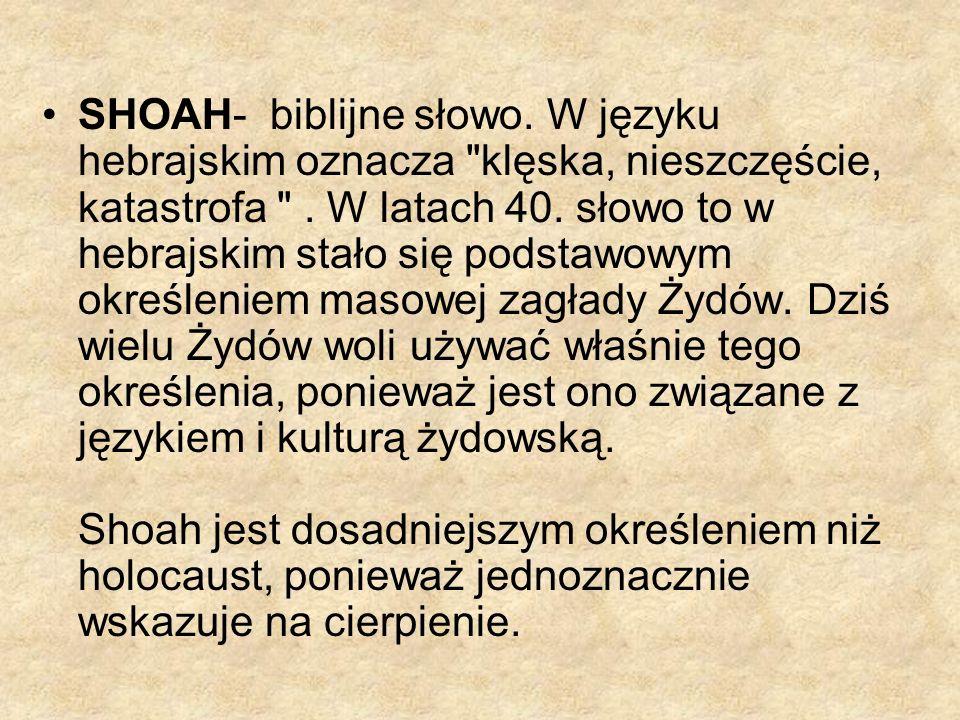 SHOAH- biblijne słowo.