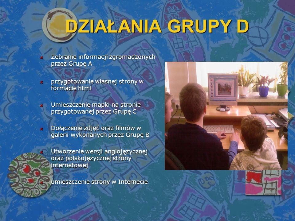 DZIAŁANIA GRUPY D Zebranie informacji zgromadzonych przez Grupę A