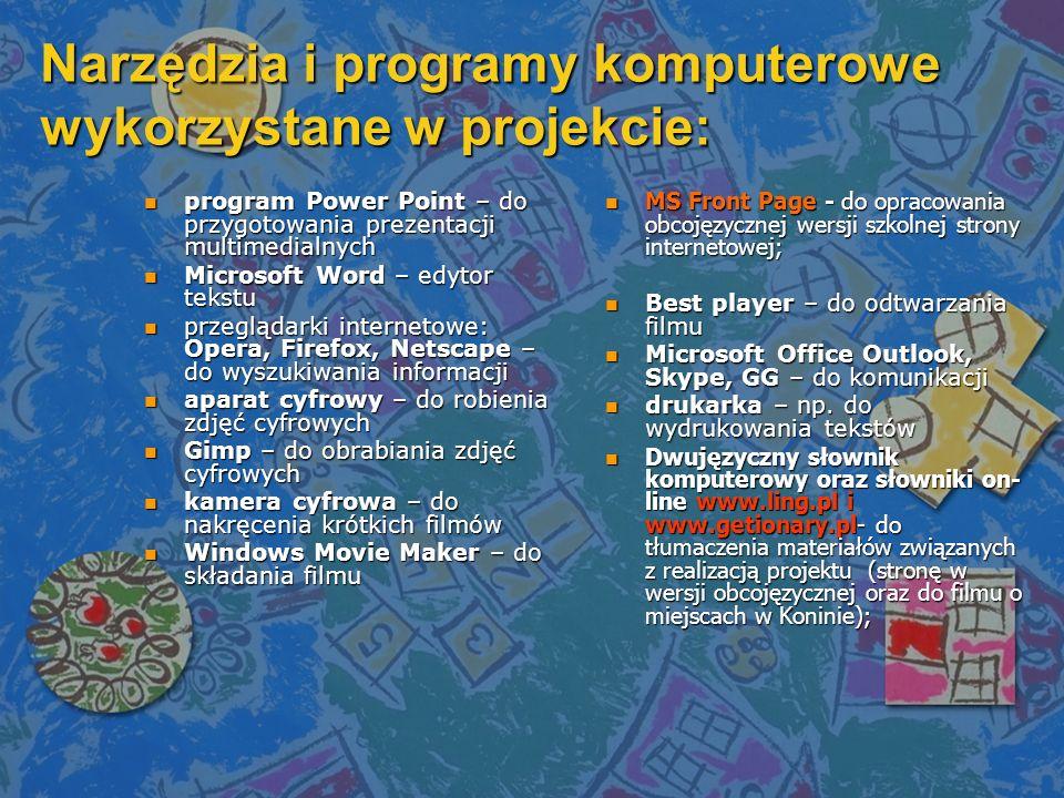 Narzędzia i programy komputerowe wykorzystane w projekcie: