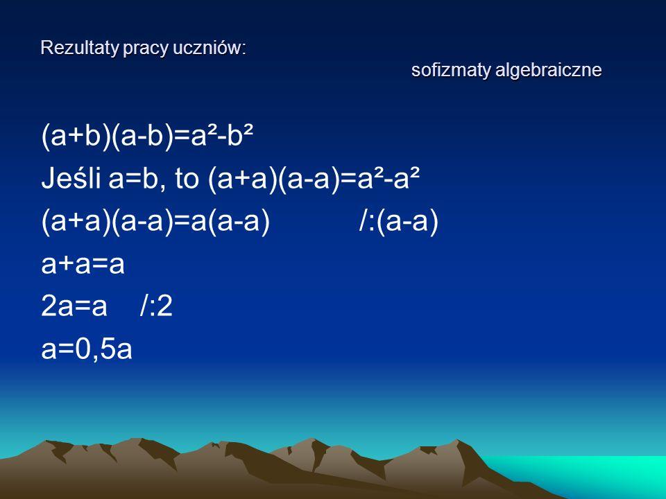 Rezultaty pracy uczniów: sofizmaty algebraiczne