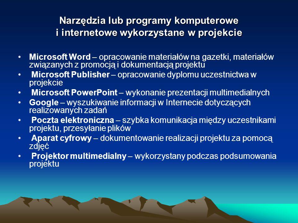 Narzędzia lub programy komputerowe i internetowe wykorzystane w projekcie