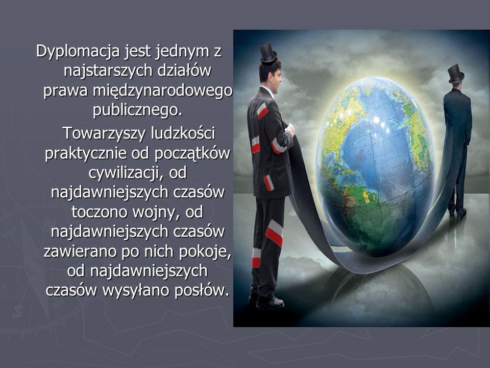 Dyplomacja jest jednym z najstarszych działów prawa międzynarodowego publicznego.