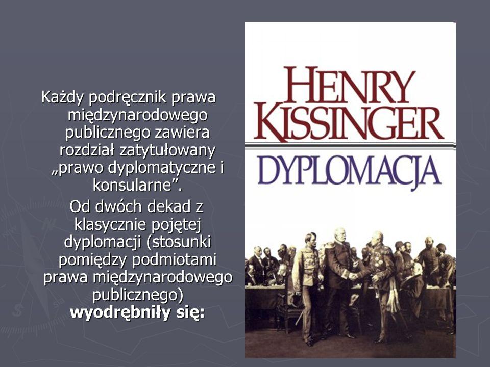 """Każdy podręcznik prawa międzynarodowego publicznego zawiera rozdział zatytułowany """"prawo dyplomatyczne i konsularne ."""