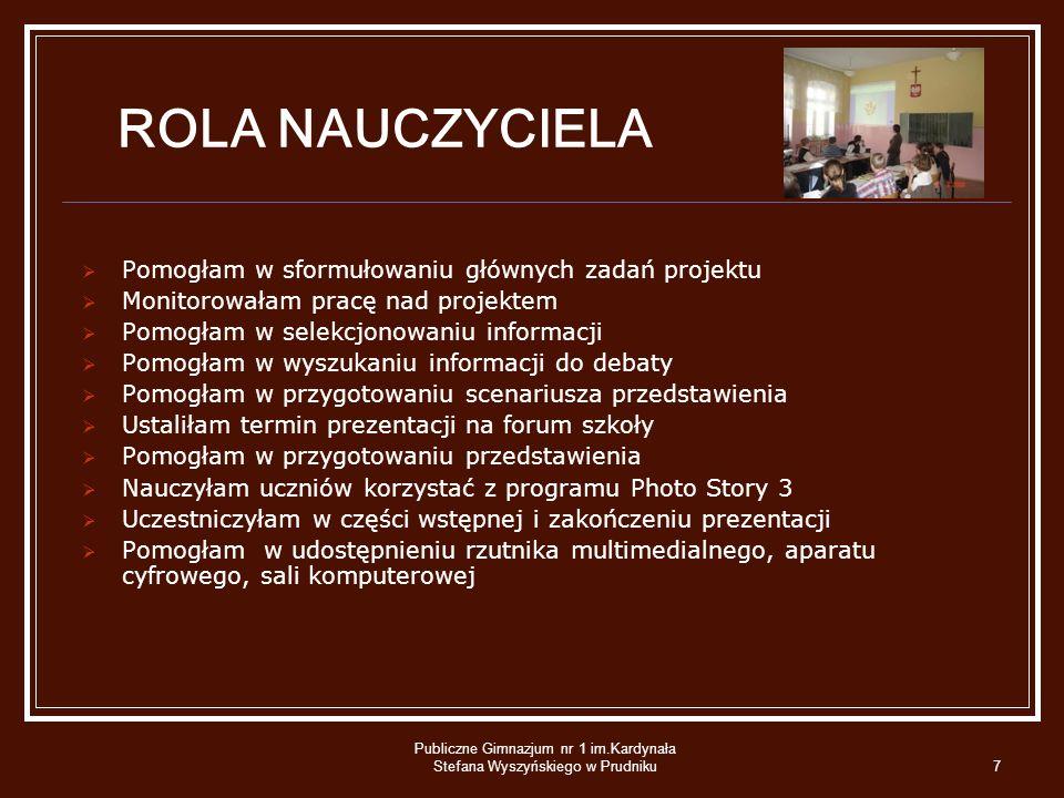 Publiczne Gimnazjum nr 1 im.Kardynała Stefana Wyszyńskiego w Prudniku
