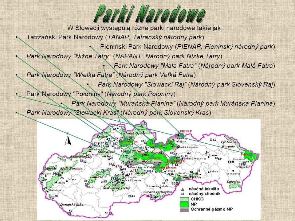 W Słowacji występują różne parki narodowe takie jak: