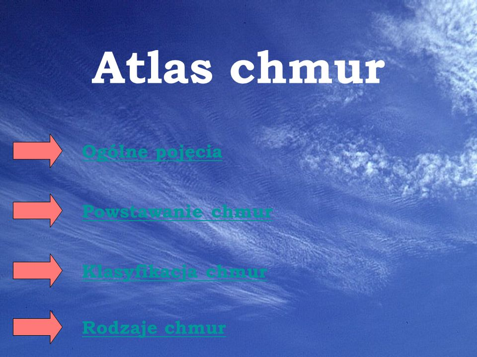 Atlas chmur Ogólne pojęcia Powstawanie chmur Klasyfikacja chmur