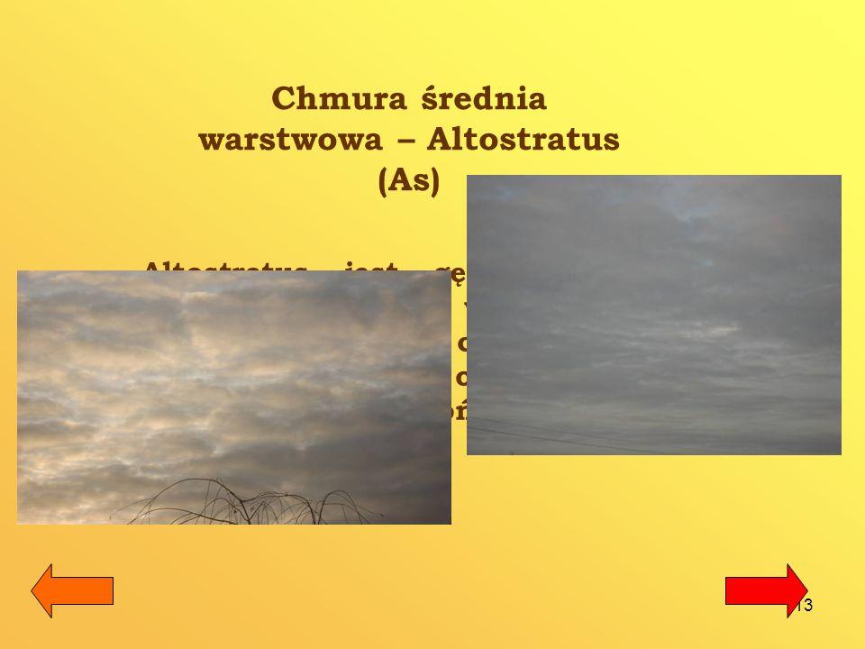 Chmura średnia warstwowa – Altostratus (As)
