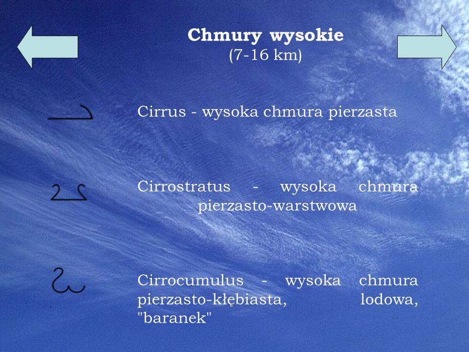 Chmury wysokie (7-16 km) Cirrus - wysoka chmura pierzasta