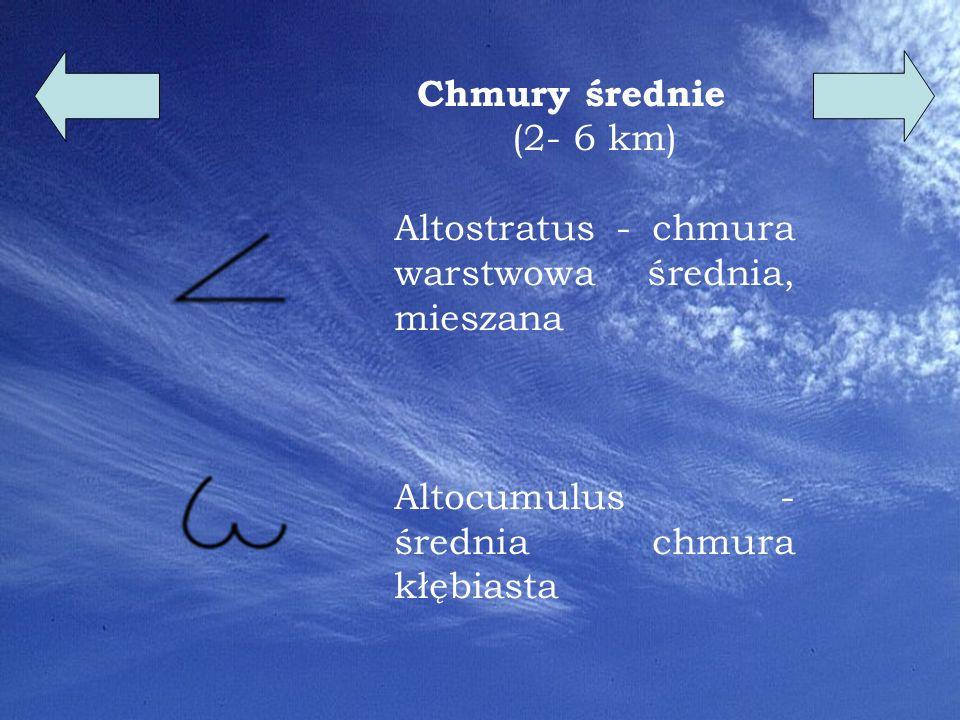 Chmury średnie (2- 6 km) Altostratus - chmura warstwowa średnia, mieszana.