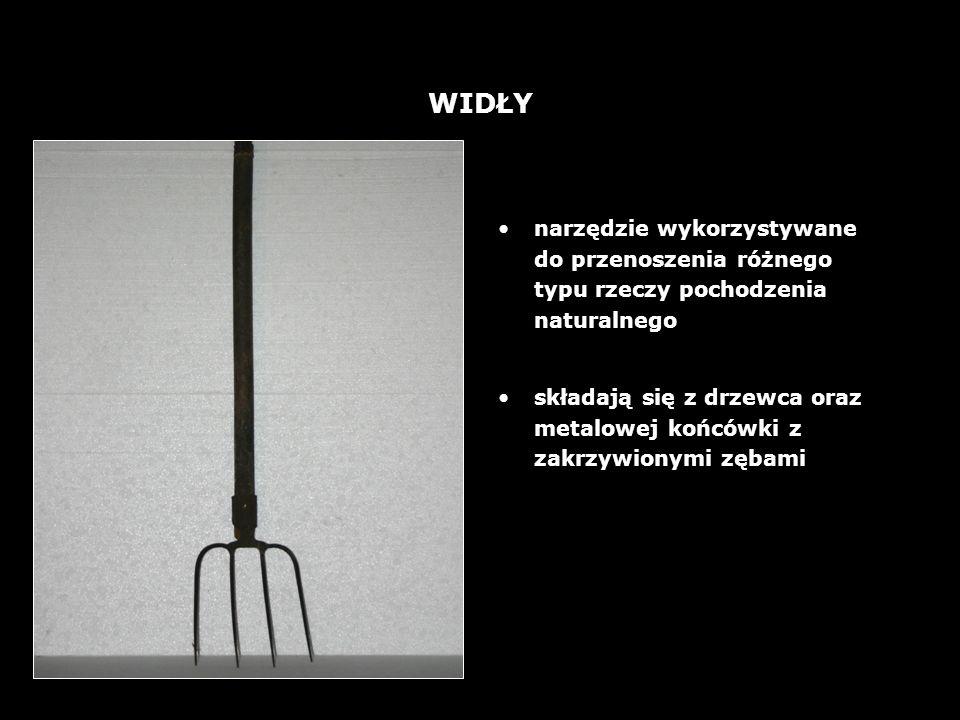 WIDŁY narzędzie wykorzystywane do przenoszenia różnego typu rzeczy pochodzenia naturalnego.