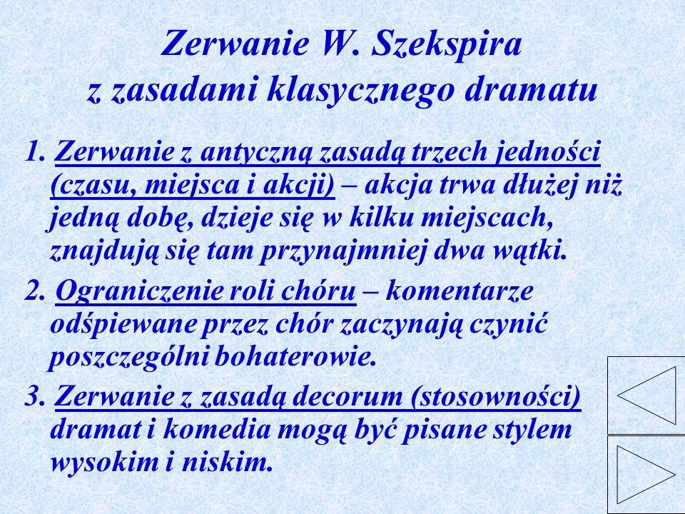 Zerwanie W. Szekspira z zasadami klasycznego dramatu