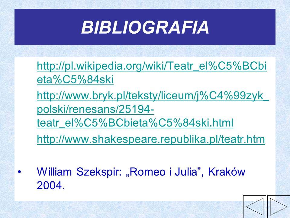 BIBLIOGRAFIA http://pl.wikipedia.org/wiki/Teatr_el%C5%BCbieta%C5%84ski
