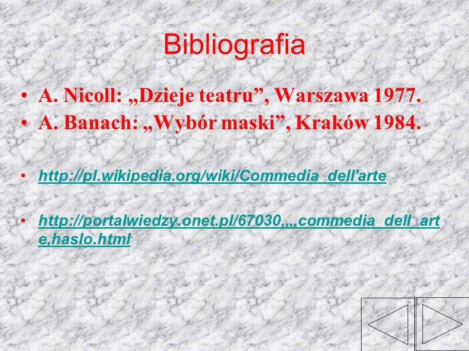 """Bibliografia A. Nicoll: """"Dzieje teatru , Warszawa 1977."""