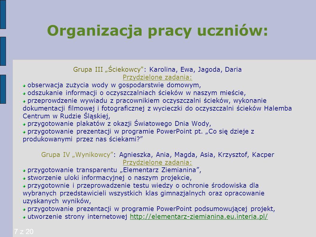 Organizacja pracy uczniów: