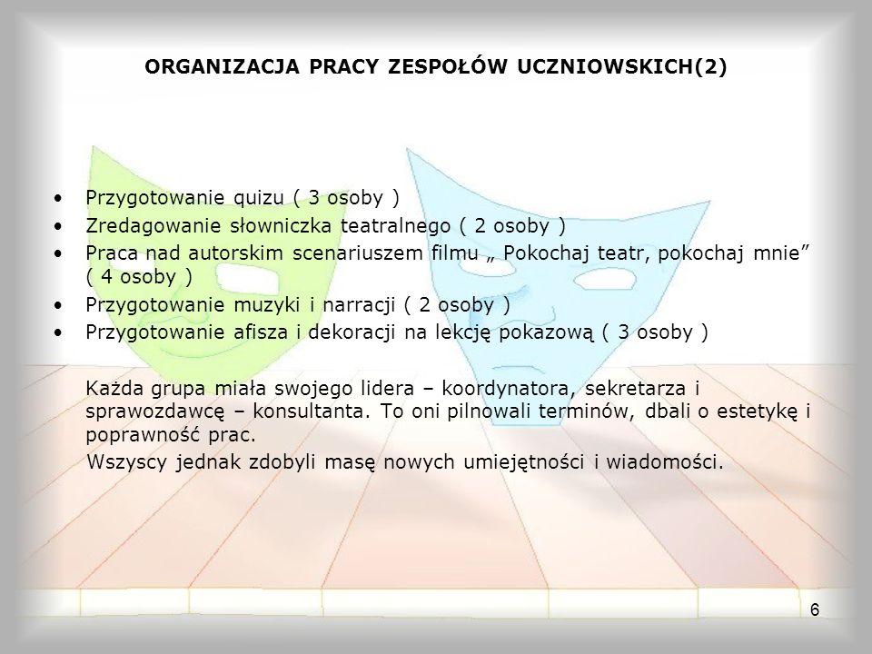 ORGANIZACJA PRACY ZESPOŁÓW UCZNIOWSKICH(2)
