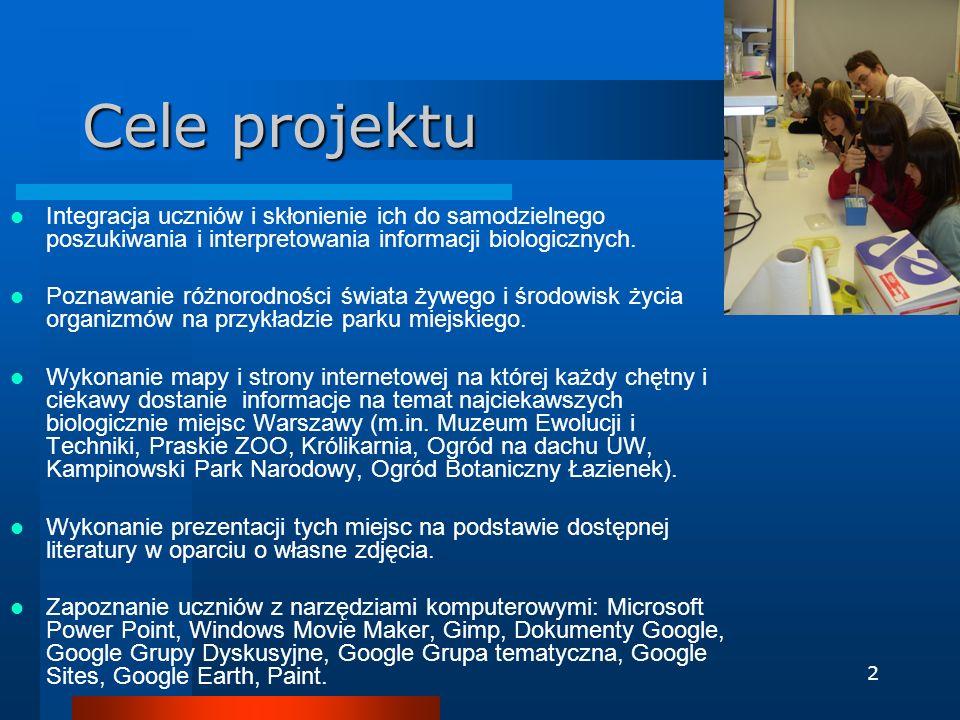 Cele projektu Integracja uczniów i skłonienie ich do samodzielnego poszukiwania i interpretowania informacji biologicznych.