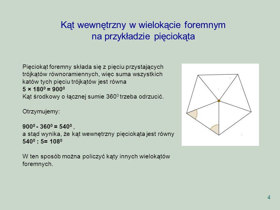 Kąt wewnętrzny w wielokącie foremnym na przykładzie pięciokąta