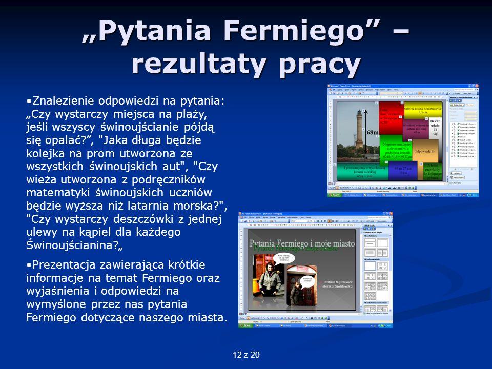 """""""Pytania Fermiego – rezultaty pracy"""