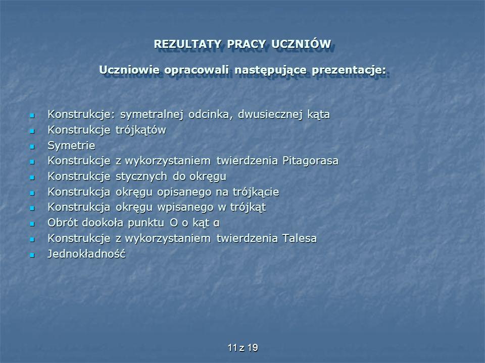 REZULTATY PRACY UCZNIÓW Uczniowie opracowali następujące prezentacje: