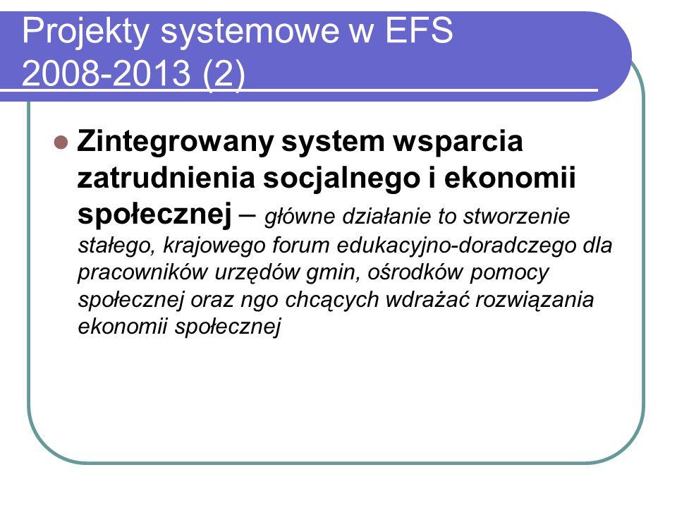 Projekty systemowe w EFS 2008-2013 (2)