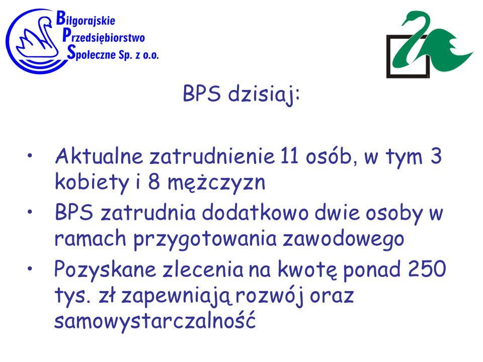 BPS dzisiaj: Aktualne zatrudnienie 11 osób, w tym 3 kobiety i 8 mężczyzn. BPS zatrudnia dodatkowo dwie osoby w ramach przygotowania zawodowego.