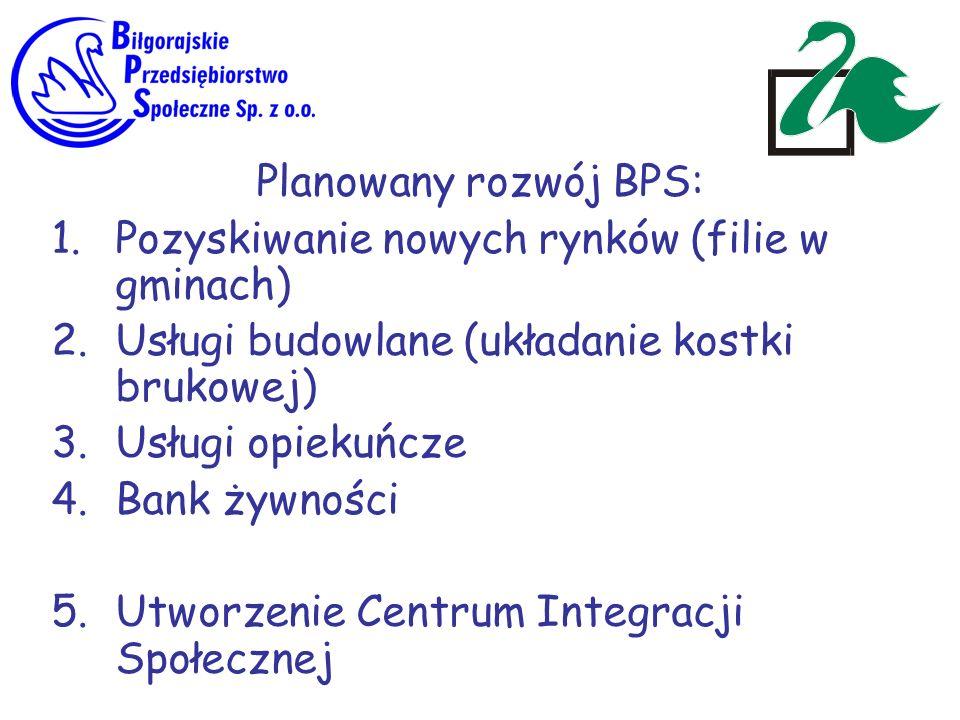 Planowany rozwój BPS: Pozyskiwanie nowych rynków (filie w gminach) Usługi budowlane (układanie kostki brukowej)