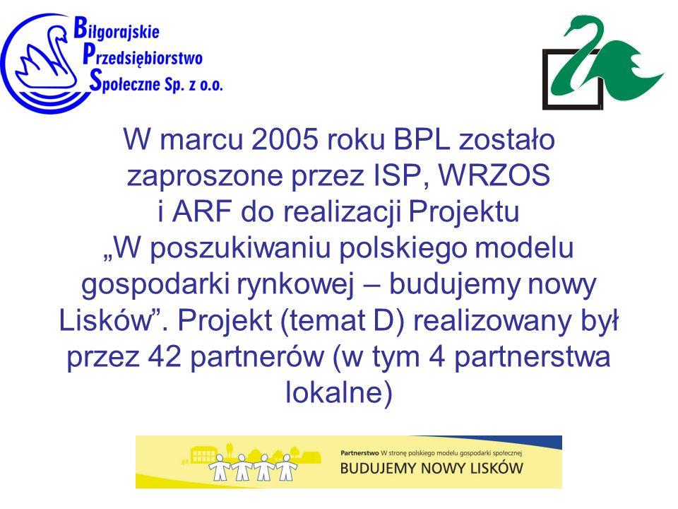 """W marcu 2005 roku BPL zostało zaproszone przez ISP, WRZOS i ARF do realizacji Projektu """"W poszukiwaniu polskiego modelu gospodarki rynkowej – budujemy nowy Lisków ."""
