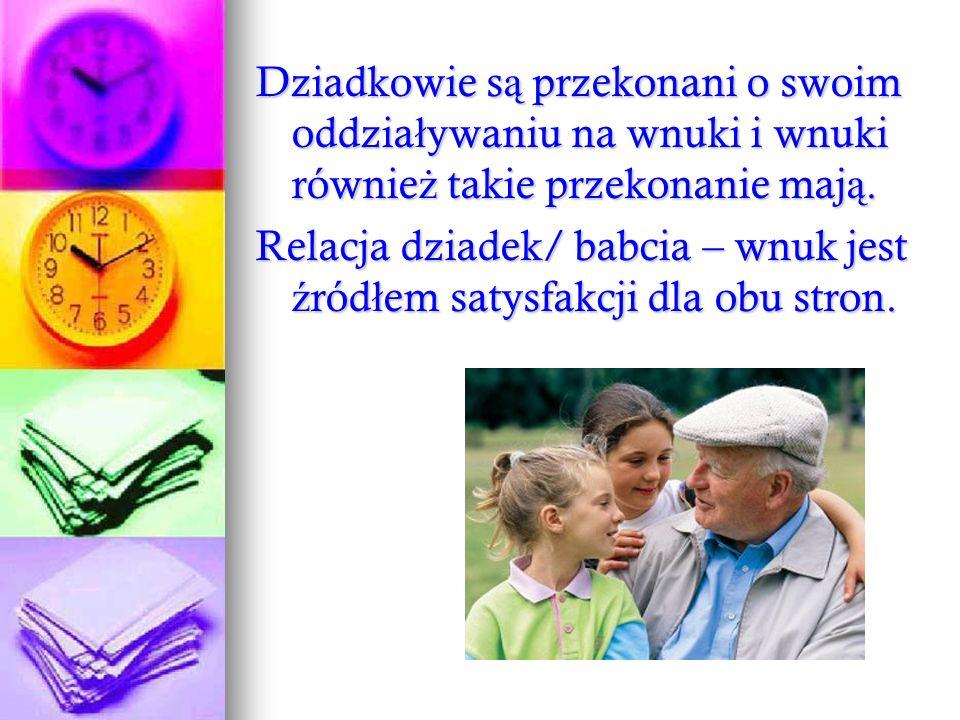 Dziadkowie są przekonani o swoim oddziaływaniu na wnuki i wnuki również takie przekonanie mają.
