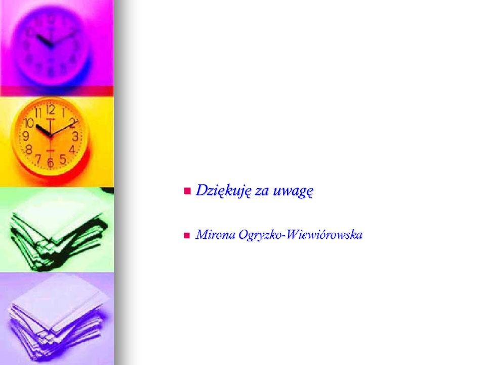 Dziękuję za uwagę Mirona Ogryzko-Wiewiórowska